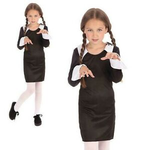 Child Wednesday Costume Creepy School Girl Addams Halloween Fancy Dress Outfit