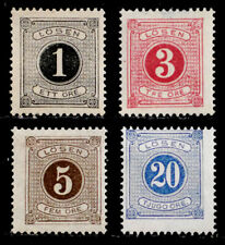 SWEDEN: 1877-80 CLASSIC STAMP COLLECTION MNH POSTAGE DUES SCT#J12-14,17 SOUND