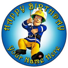 "FIREMAN SAM SWINGING ACTION - 7.5"" PERSONALISED ROUND EDIBLE ICING CAKE TOPPER"