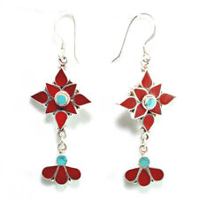 Coral & Turquoise 925 Sterling Silver Earrings Jewelry Artisan Handcrafted New