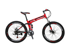 "Eurobike 26"" Folding Mountain Bike 21 speed Full suspension Bicycle MTB Present"