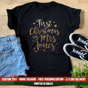 Ladies First Christmas As Mrs Surname T Shirt Funny Married Wife Sister Gift Top