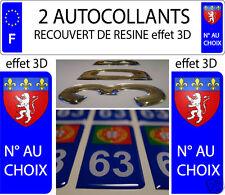 2 sticker plaque immatriculation auto RESINE 3D BLASON ARMOIRIES LYON