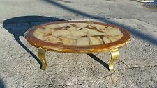 MID CENTURY MODERN MULLER OF MEXICO ONYX COFFEE TABLE W CURVACEOUS BRASS LEGS P