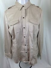 NWT NEW YORK & COMPANY WOMEN BEIGE THE MADISON LONG SLEEVE SHIRT SUEDE LIKE XL