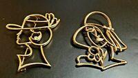 Vintage JJ Jonette Girl Head Gold Tone Pin Brooch set of 2