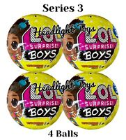 4 Balls Authentic LOL Surprise BOYS Series 3 Dolls Big Brothers Yellow In Hand