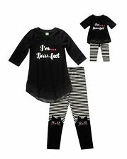 NWT Dollie and Me Black I'm Purr-fect Tunic Outfit Sz 10 Matching Doll Outfit