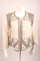 Chico's Women's Blazer Jacket 1 Medium 8 Aztec Embroidered Beaded Linen White
