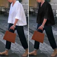 UK Womens Oversize V Neck Short Sleeve Casual Baggy Short Tops T Shirt Blouse