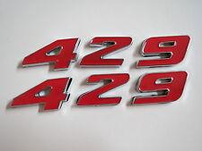 FORD 429 ENGINE ID FENDER HOOD SCOOP QUARTER PANEL TRUNK EMBLEMS - RED