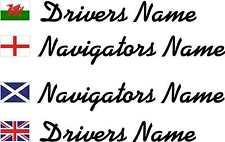 2cm Flags & Drivers, Navigators Names for Door Wing Rally Motorsport Stickers
