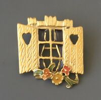 Vintage  window Flower Brooch pin in enamel on gold metal