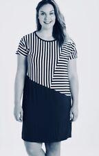 PERSONA by Marina Rinaldi,OTTOBRE,Striped,Navy White,Jersey Dress,L,UK22/24