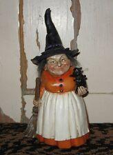 Folk Art WITCH Figurine*Halloween Primitive Fall Decor*Black Cat*Broom*New