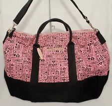 VICTORIA'S SECRET - Black & Pink - Love Angel - Large TOTE Travel BAG *NEW $99