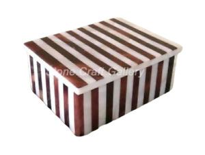 "4"" x 3"" x 2"" Marble Jewelry Ring Box Semi precious stones Work Home Decor gift"