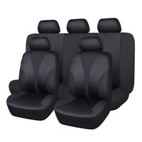 Car Seat Covers Set Polyester Hot Stamp Fabric Seat Protectors Black Washable
