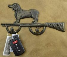 Bull Dong with Hunting Rifle Cast Iron Key Holder Rusty Brown American Pit