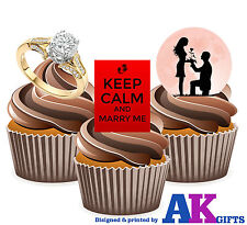 Keep Calm and Marry Me, Proposal Mix -  12 Edible Cup cake Toppers Valentines