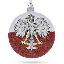 Flag of Poland Glass Ball Christmas Ornament 4 Inches
