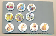 10 Birchcroft China Buttons; Bear Family, Teddy Bears, & Other Animals