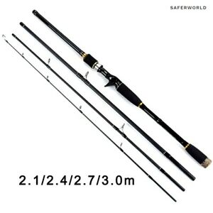 Carbon Fiber Spinning Casting Fishing Rods Pole Travel Tackle 4 Sections Fast S
