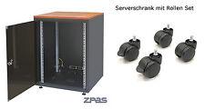 """19"""" EDV Serverschrank 15HE 600x600 SCHWARZ  NETZWERKSCHRANK mit Rollen Set"""