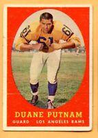 1958 Topps Football #55 Duane Putnam (VG) -- Los Angeles Rams