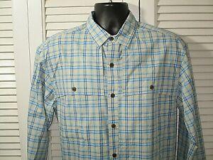 NWT Patagonia Blue/Tan Plaid Island Hopper II L/S Men's Shirt M