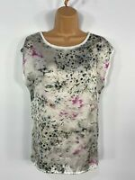 WOMENS WAREHOUSE WHITE FLORAL SATIN FRONT SHORT SLEEVE SUMMER T SHIRT TOP UK 8