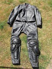 MEN'S SPYKE SIZE 52 EUR 2 PIECE BLACK LEATHER MOTORCYCLE SUIT