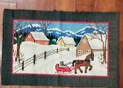 ANTIQUE HOOK RUG WINTER CHRISTMAS RARE COLLECTIBLE COLORFUL