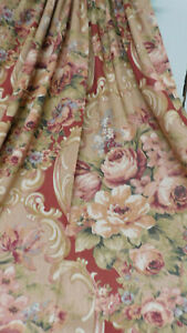 """Vintage J.C. Penney Pair of Unlined Curtains-RED Peonies 64"""" long-So Pretty!"""