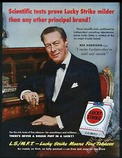 1950 Rex Harrison photo Lucky Strike cigarettes vintage print ad