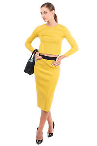 RRP €660 LES COPAINS Midi Knitted Skirt Suit Size 40 / S Stretch 3/4 Sleeve