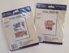 Lot Of 2 Cross Stitch Kit Bluebird's Nest Picture Purrfect Crafters Square Cat