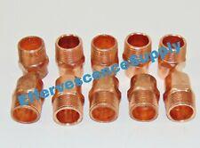 """[Lot of 10] 1"""" Inch Copper Male Adapter Sweat x Male NPT (CxM)"""