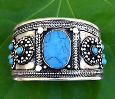 Vintage Blue Turquoise Afghan Kuchi Bracelet Tribal Ethnic Cuff Bohemian Boho