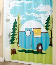 Travel Themed Shower Curtain Nostalgic Trailer Camper Print Bathroom Decor Idea