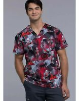 Marvel Ant Man Cherokee Tooniforms Mens Small V-Neck Scrub Top Medical Nurse NEW