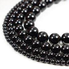 "Natural Black Onyx Beads Round Smooth 15"" Strand Loose 4mm 6mm 8mm 10mm 12mm"