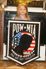 POW/MIA Wood flag. 29x22. Inlaid with red white and blue epoxy. Epoxy top coated