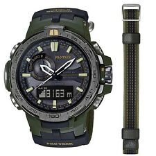 CASIO PROTREK MENS WATCH TRIPLE SENSOR PRW-6000 PRW-6000SG-3 GREEN w/EXTRA BAND