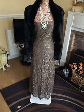 Pizzo/OTTO Phase Perline/paillettes piena lunghezza Dress Size 10 CE Summer