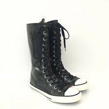 Converse Juniors Size 5 Black Patent All Star Chuck Taylor Knee Hi Boot Sneakers