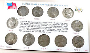 Wartime Silver War Nickels - 11 coins - 1942-1945 P S D Complete Set 35% Silver