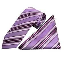 Fatto a mano viola a righe SETA Cravatta E Fazzoletto Set regolari Cravatta e Hanky Set