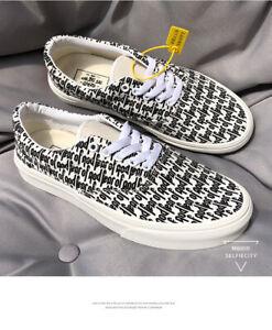 FOG ESSENTIALS black-white letter pattern canvas couple men's women's shoes