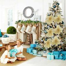 Artificial Christmas Xmas Tree Party 5/10Pcs Glitter Flower Wedding Hollow Decor